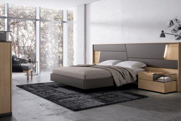 dormitorio moderno lacado y madera