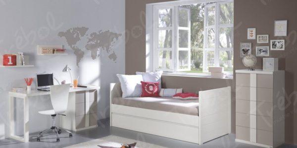 cama nido lisa blanca , combinando frentes con colores vison