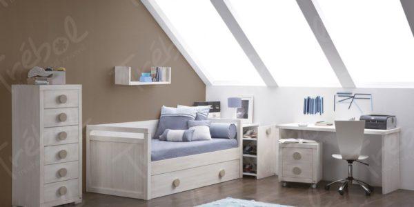 ambiente en blanco envejecido compuesto por cama nido, mesa de estudio y sinfonier