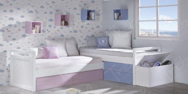 camas nido en forma de L , con juguetero personalizado y cubos en la pared