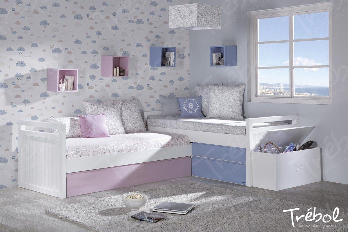 Mueble juvenil trebol mobiliario hd for Camas en l juveniles