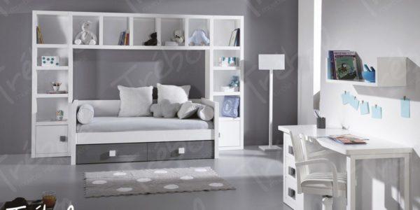 cama nido con libreria a juego