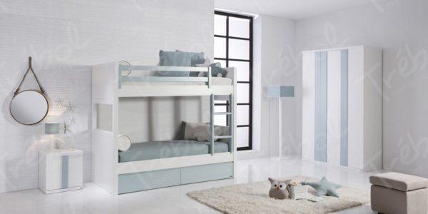 litera combinada con frentes azules pudiendo convertir la litera en camas individuales