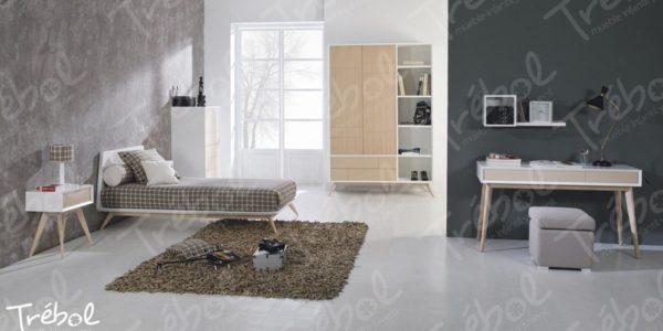cama senior de estilo nordico , combinando roble con blanco