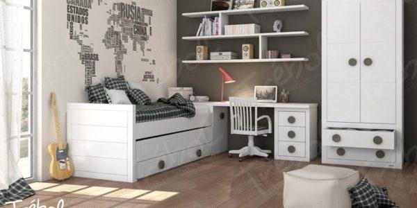 Zona de estudio compuesta por cama nido , mesa y armario