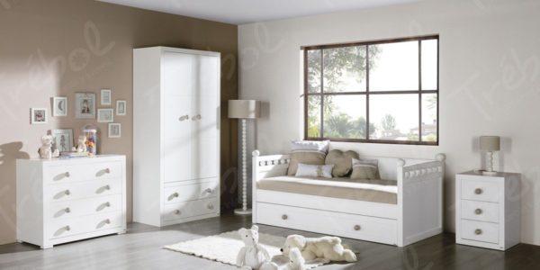 ambiente cama nido lacado blanco colección bolas en color visón