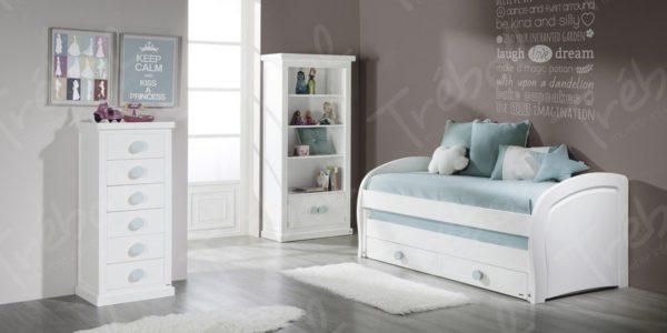 cama compacta con costados curvos , piezas auxiliares enmarcadas y con cornisa