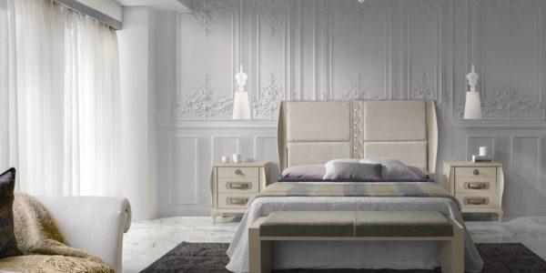 dormitorio icaro , acabado arena , cabezal tapizado  frentes texturados nacar