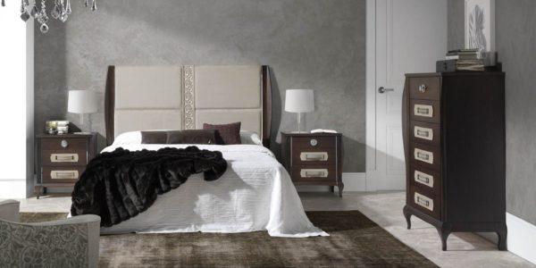 dormitorio icaro , color tabaco , cabecero tapizado