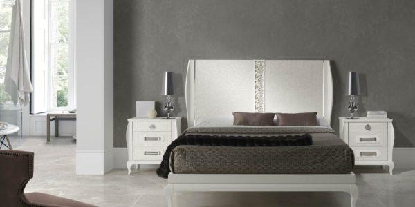 dormitorio icaro , acabado arena , cabecero tapizado