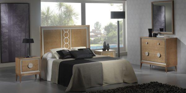 dormitorio color cerezo detalle circulos