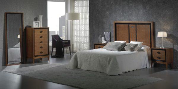 dormitorio combinado en madera con negro