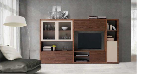 mueble de nogal de gran capacidad combinado con beige