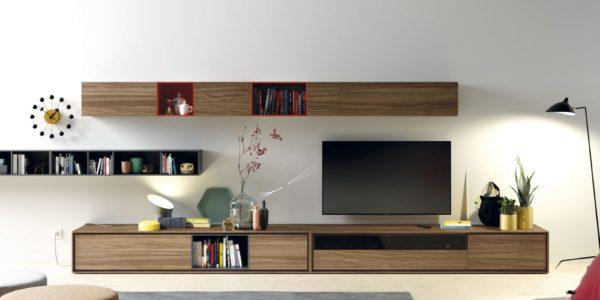 modular television nogal , combinado con laca carbón mate y cayena