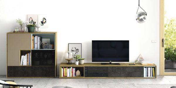 modular televisión combinado con aparador , acabados roble nudoso , con frentes cerámicos y lacas