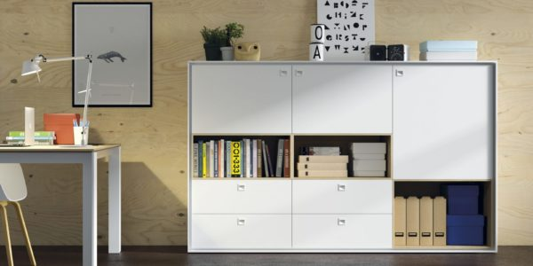 estanteria libreria despacho blanca combinada con roble