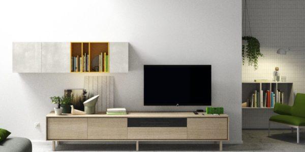 modular televisión acabado roble con patas , módulo colgado frente cerámico detalle de cubo lacado