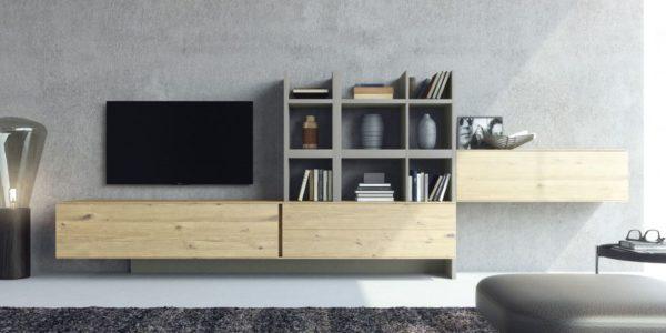 modulos de roble rustik , columna, estantes y zocalo lacados en barro