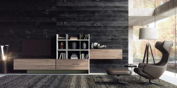 módulos de nogal, columnas, estantes y zócalos lacados en barro
