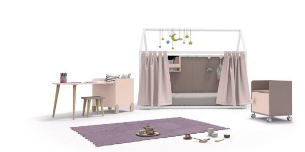casita nido rosa y blanco cortinas