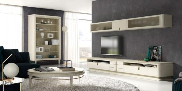 salon comedor ambito modular tv con libreria