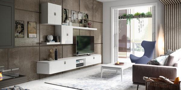 salon comedor ambito modular tv modulos colgados cerrados